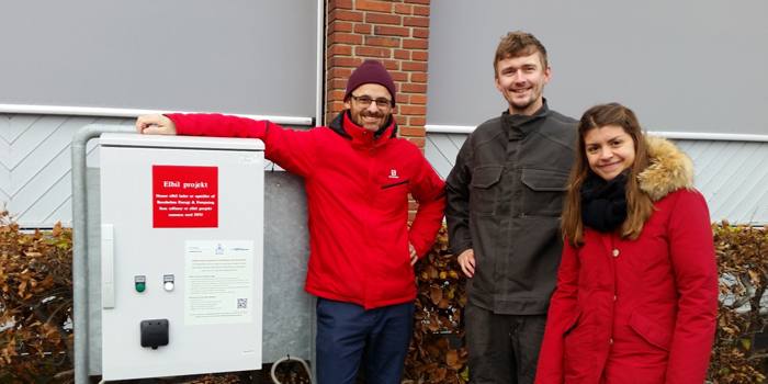 DTU Elektro researchers Andreas Thingvad and Lisa Calearo, along with Mattia Marinelli working on the ACES project at Bornholm